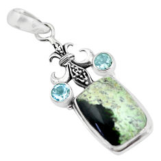 14.72cts natural green chrome chalcedony topaz 925 silver pendant p55353