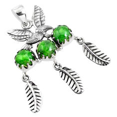 9.72cts natural green chrome diopside 925 silver dreamcatcher pendant p42136