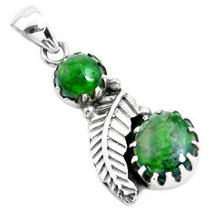 8.54cts natural green chrome diopside 925 silver leaf charm pendant p42010