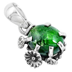 4.89cts natural green chrome diopside 925 sterling silver flower pendant p41886