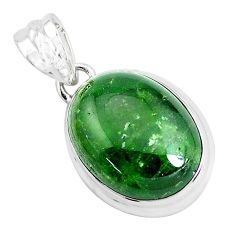 17.22cts natural green chrome diopside 925 sterling silver pendant p47201