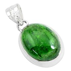 18.15cts natural green chrome diopside 925 sterling silver pendant p47202