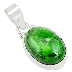 13.70cts natural green chrome diopside 925 sterling silver pendant p65801