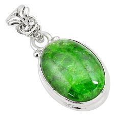 14.07cts natural green chrome diopside 925 sterling silver pendant p65807