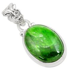 12.58cts natural green chrome diopside 925 sterling silver pendant p65809