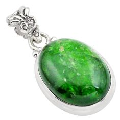 16.68cts natural green chrome diopside 925 sterling silver pendant p65811