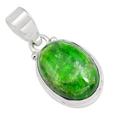 13.15cts natural green chrome diopside 925 sterling silver pendant p65814