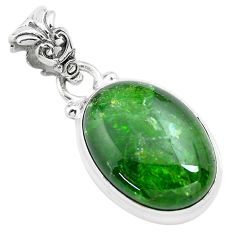 13.15cts natural green chrome diopside 925 sterling silver pendant p71973