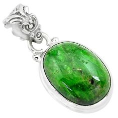 14.07cts natural green chrome diopside 925 sterling silver pendant p71975