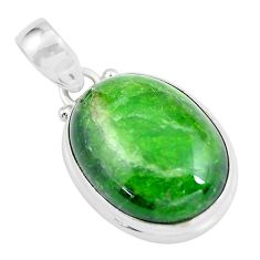 16.73cts natural green chrome diopside oval 925 sterling silver pendant d31972