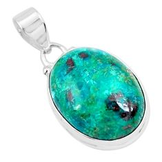 14.23cts natural green chrysocolla 925 sterling silver pendant jewelry p49093