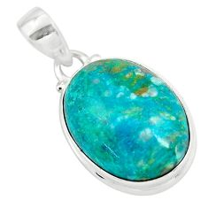 14.72cts natural green chrysocolla 925 sterling silver pendant jewelry p57985
