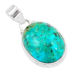 14.72cts natural green chrysocolla 925 sterling silver pendant jewelry p57996