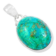 13.15cts natural green chrysocolla 925 sterling silver pendant jewelry p58948