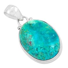 12.22cts natural green chrysocolla 925 sterling silver pendant jewelry p58959