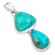 14.26cts natural green chrysocolla 925 sterling silver pendant jewelry p67490