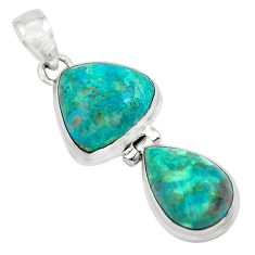 13.77cts natural green chrysocolla 925 sterling silver pendant jewelry p67493