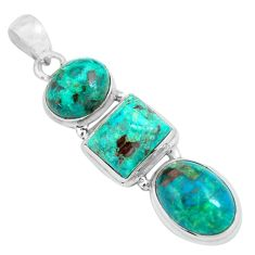 16.46cts natural green chrysocolla 925 sterling silver pendant jewelry p67701