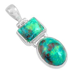 15.53cts natural green chrysocolla 925 sterling silver pendant jewelry p67702