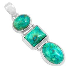 15.74cts natural green chrysocolla 925 sterling silver pendant jewelry p67703