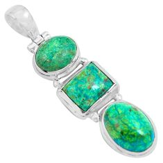 15.31cts natural green chrysocolla 925 sterling silver pendant jewelry p67705