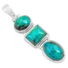 16.46cts natural green chrysocolla 925 sterling silver pendant jewelry p67717