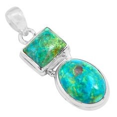 16.20cts natural green chrysocolla 925 sterling silver pendant jewelry p70565