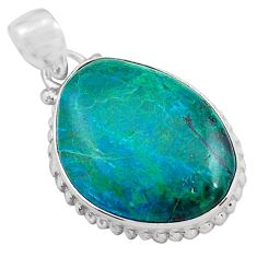 17.57cts natural green chrysocolla 925 sterling silver pendant jewelry p85335