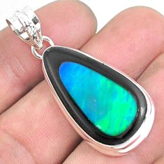 20.96cts natural green doublet opal in onyx 925 sterling silver pendant p53615