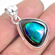 14.14cts natural green doublet opal in onyx 925 sterling silver pendant p53622