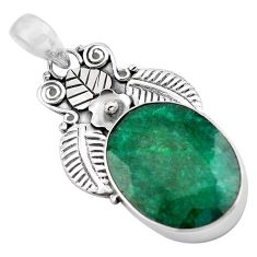 16.70cts natural green emerald 925 sterling silver deltoid leaf pendant p84690