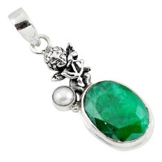 15.31cts natural green emerald pearl 925 silver cupid angel wings pendant p56784