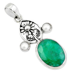 14.99cts natural green emerald pearl 925 sterling silver flower pendant p56781