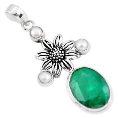 15.69cts natural green emerald pearl 925 sterling silver flower pendant p56790
