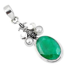 13.79cts natural green emerald pearl 925 sterling silver pendant jewelry p56796
