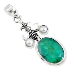 14.21cts natural green emerald pearl 925 sterling silver pendant jewelry p56798