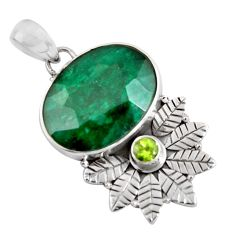 18.15cts natural green emerald peridot 925 sterling silver pendant p90368