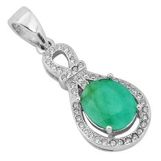 4.52cts natural green emerald topaz 925 sterling silver pendant jewelry a96397