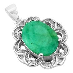 6.10cts natural green emerald topaz 925 sterling silver pendant jewelry a96399