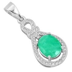 4.89cts natural green emerald topaz 925 sterling silver pendant jewelry a96400