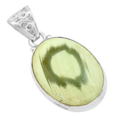 18.70cts natural green imperial jasper 925 sterling silver pendant p66400