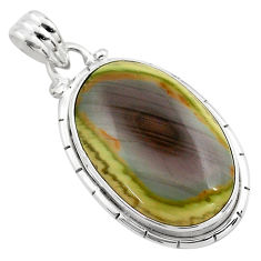 16.20cts natural green imperial jasper 925 sterling silver pendant p85165