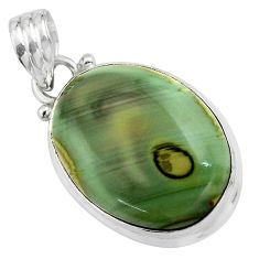 15.08cts natural green imperial jasper 925 sterling silver pendant p85168
