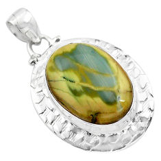 18.22cts natural green imperial jasper 925 sterling silver pendant p85200