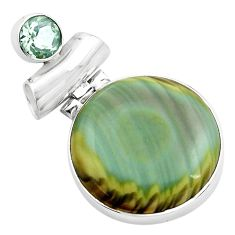 17.55cts natural green imperial jasper amethyst 925 silver pendant p85185