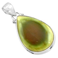 13.55cts natural green imperial jasper pear 925 sterling silver pendant p85169