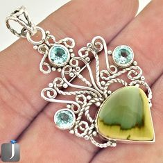 8.65cts NATURAL GREEN IMPERIAL JASPER TOPAZ 925 STERLING SILVER PENDANT E20105