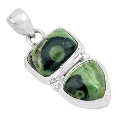 9.70cts natural green kambaba jasper (stromatolites) 925 silver pendant p67442