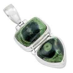 10.33cts natural green kambaba jasper (stromatolites) 925 silver pendant p67443