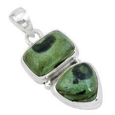 9.72cts natural green kambaba jasper (stromatolites) 925 silver pendant p67445